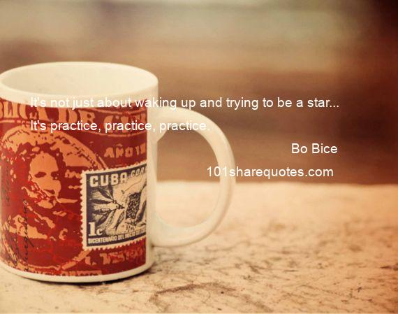 Bo Bice - It's not just about waking up and trying to be a star... It's practice, practice, practice.