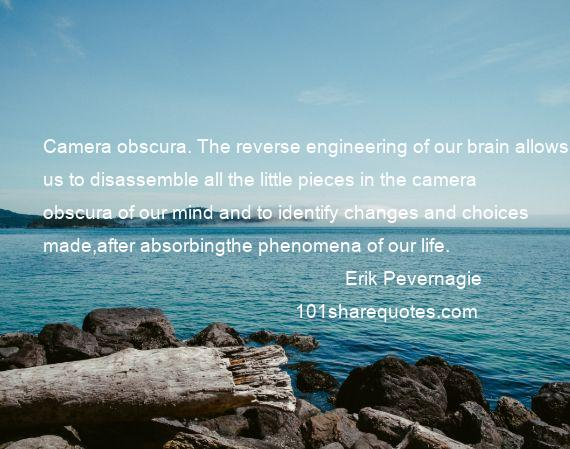 Erik Pevernagie - Camera obscura. The reverse engineering of our brain allows us to disassemble all the little pieces in the camera obscura of our mind and to identify changes and choices made,after absorbingthe phenomena of our life.