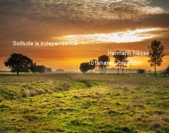Hermann Hesse - Solitude is independence.