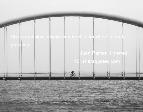 Juan Ramon Jimenez - Sharp nostalgia, infinite and terrible, for what I already possess.