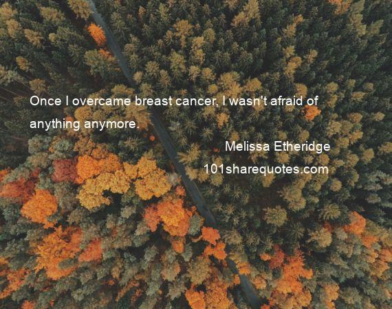 Melissa Etheridge - Once I overcame breast cancer, I wasn't afraid of anything anymore.