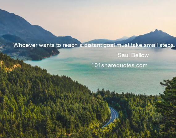 Saul Bellow - Whoever wants to reach a distant goal must take small steps.