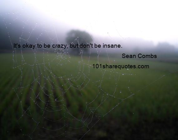 Sean Combs - It's okay to be crazy, but don't be insane.